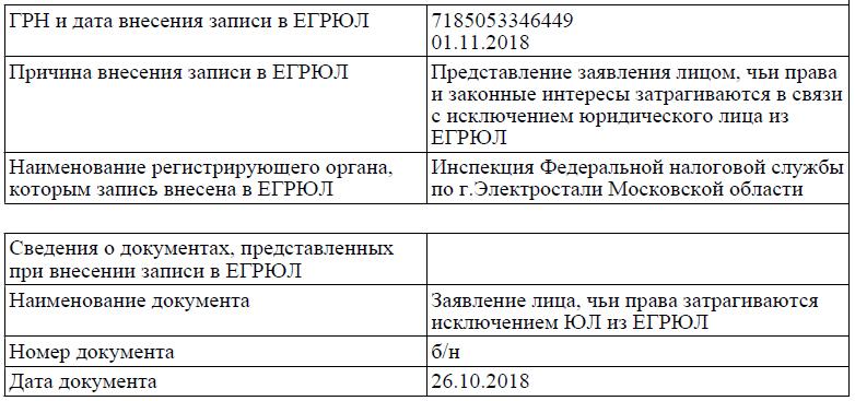 Снятие отметки об исключении ООО из ЕГРЮЛ